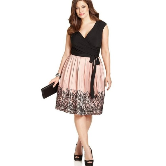 S.L. Fashions Plus Size Embroidered Pleat Dress 18